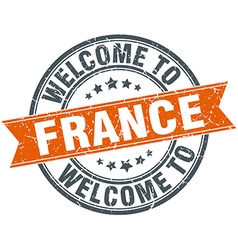 welcome to France orange round ribbon stamp vector image