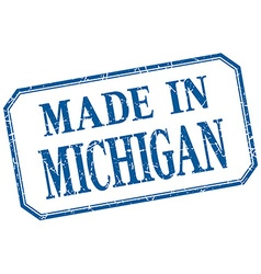 Michigan - made in blue vintage isolated label vector