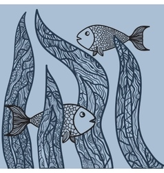 Two fishes in sea weed adult antistress coloring vector