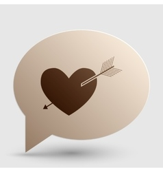 Arrow heart sign brown gradient icon on bubble vector