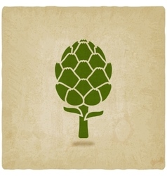 Artichoke symbol on old background vector