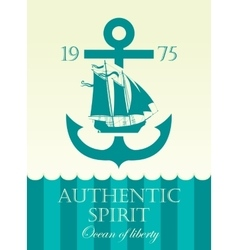 Banner with anchor and sailing boat vector