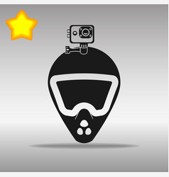 Bike helmet with action camera black icon vector