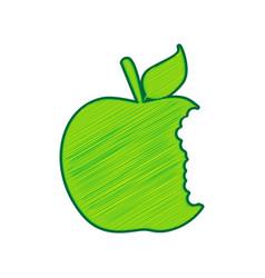Bited apple sign lemon scribble icon on vector