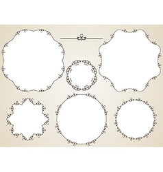 calligraphic round frame vector image vector image
