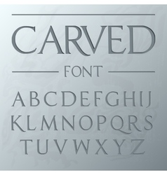 Carved font engraved on the wall modern realistic vector image vector image