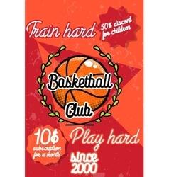 Color vintage basketball poster vector image vector image
