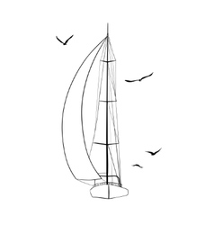 Contour of sailboats isolated on white vector image