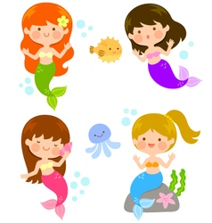Cute cartoon mermaids vector