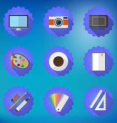 Designers stuff Flat icon set include Desktop vector image vector image