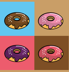 donuts of differents flavors background vector image vector image