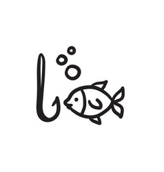 Fish with hook sketch icon vector