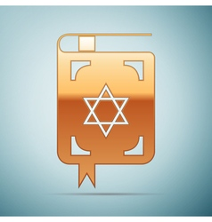 Gold jewish torah book icon on blue background vector