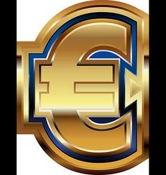 Golden euro symbol vector