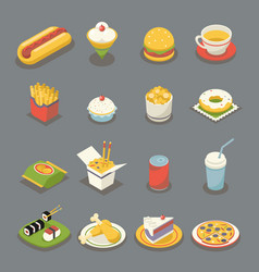 Isometric retro flat fast food icons and symbols vector