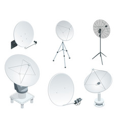 Isometric set satellite dish antennas on white vector