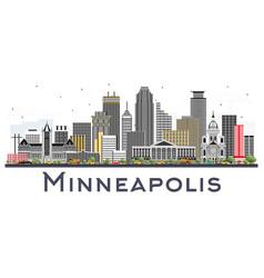 minneapolis minnesota usa skyline with color vector image