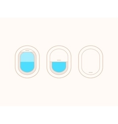 Open and closed airplane window icons vector image