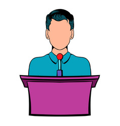 orator speaking from tribune icon cartoon vector image vector image