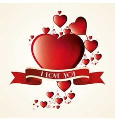 romantic card i love you label vector image