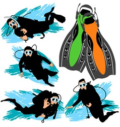 Scuba diving silhouettes set vector
