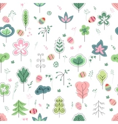 Seamless pretty pattern with stylized trees and vector image vector image