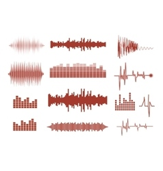 Sound waves set music waves icons audio vector