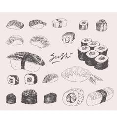 Sushi Set Hand drawn Engraving Vintage vector image vector image