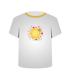 T Shirt Template- cute honeybee vector image