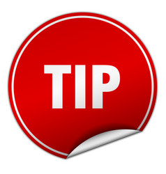 Tip round red sticker isolated on white vector