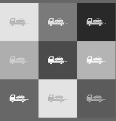 tow car evacuation sign grayscale version vector image vector image