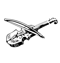 Violin sketch isolated on white background vector image