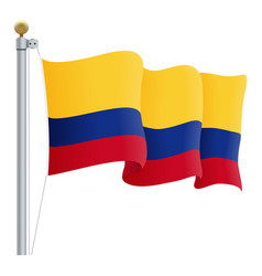 waving colombia flag isolated on a white vector image vector image