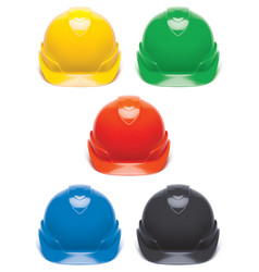Working hard hat set safety helmet isolated on vector