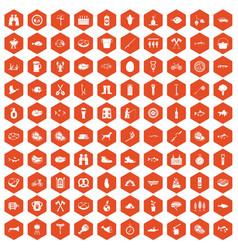 100 bbq icons hexagon orange vector