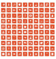 100 summer holidays icons set grunge orange vector image vector image