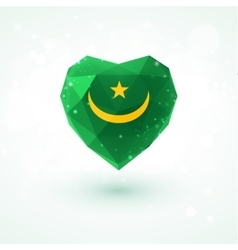 Flag of mauritania in shape diamond glass heart vector