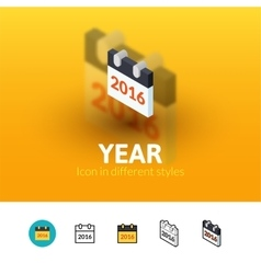 Year icon in different style vector