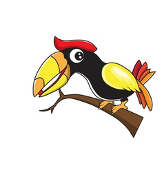 Hornbill cartoon vector image