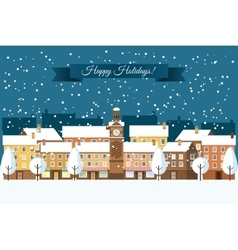 Winter town happy holidays vector