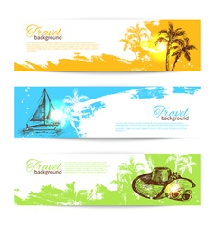 Banner set of travel colorful tropical backgrounds vector