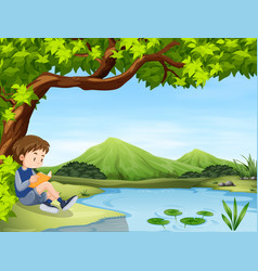 Boy reading book by the pond vector