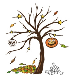 Halloween tree pumpkin skull vector image