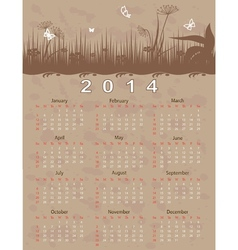 2014 calendar year in vintage style vector image
