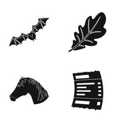 Hobbies flora fauna and other web icon in black vector