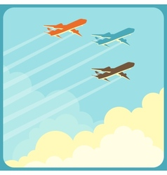 Airplanes flying in the sky over clouds vector