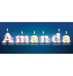 Amanda written with burning candles vector