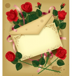 Letter with roses vector