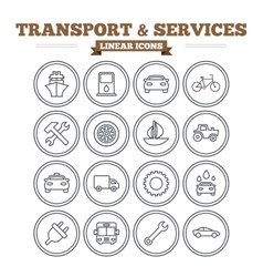 Transport and services linear icons set thin vector