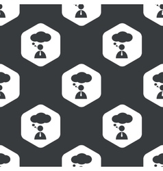 Black hexagon thinking person pattern vector